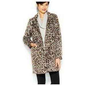 Bar III Notched-Lapel Leopard Print Faux Fur Coat